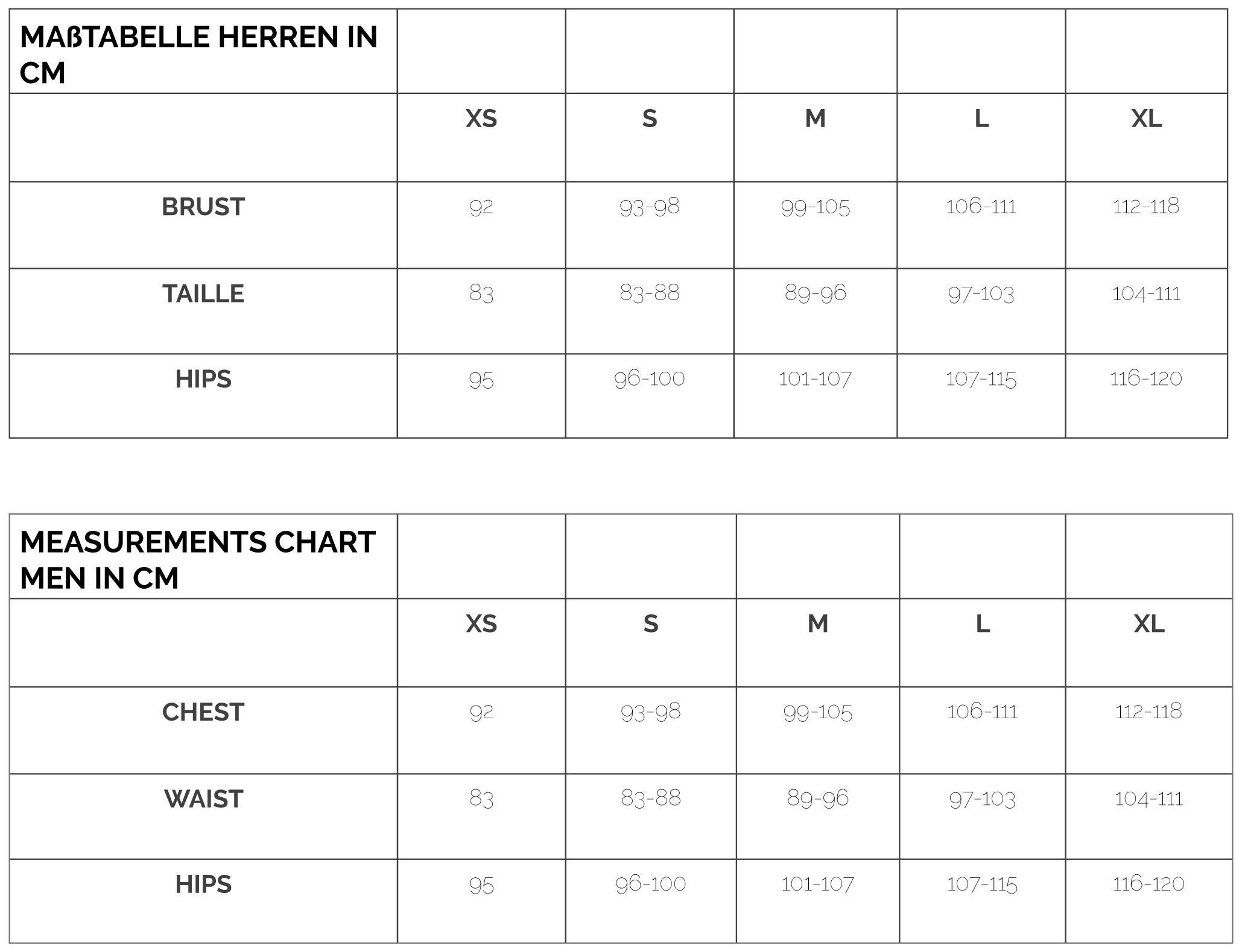 BRACHMANN Cosywear Measurements Men Maßtabelle Herren